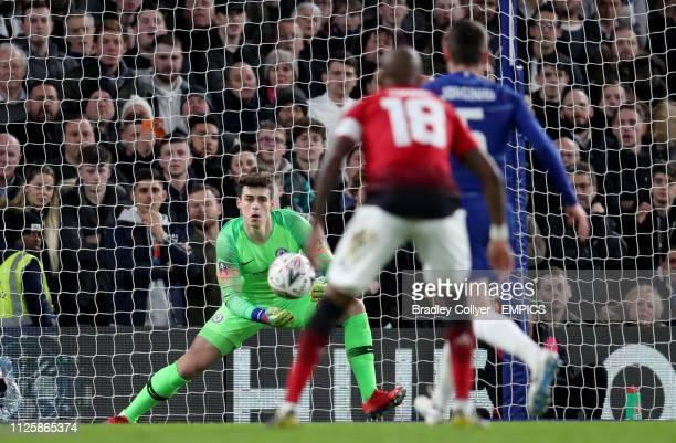 Chelsea goalkeeper Kepa Arrizabalaga makes a save Chelsea v Manchester United FA Cup Fifth Round Stamford Bridge