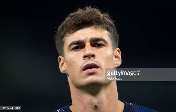 Chelsea goalkeeper Kepa Arrizabalaga prior to the Carabao Cup fourth round match between Tottenham Hotspur and Chelsea at Tottenham Hotspur Stadium...
