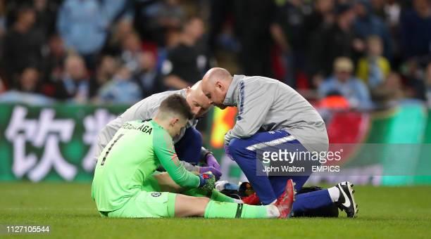 Chelsea goalkeeper Kepa Arrizabalaga receives medical attention Chelsea v Manchester City Carabao Cup Final Wembley Stadium