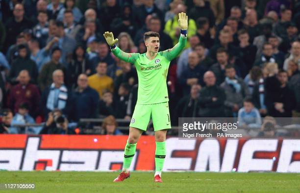 Chelsea goalkeeper Kepa Arrizabalaga refuses to be substituted during the Carabao Cup Final at Wembley Stadium London