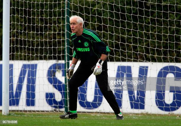 Chelsea goalkeeper Peter Bonetti in action during a Chelsea Old Boys match at the club's Cobham training ground on September 14 2009 in Cobham...