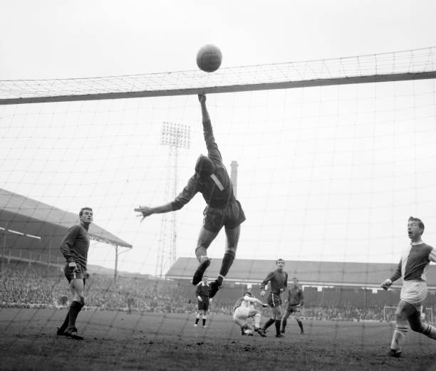 Chelsea goalkeeper Peter Bonetti in action during the Football League Division One match between Blackburn Rovers and Chelsea at Ewood Park on...