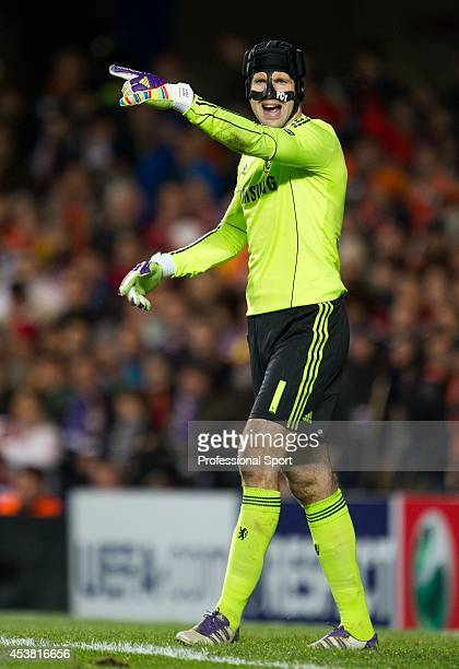Chelsea goalkeeper Petr Cech in action during the UEFA Champions League group E match between Chelsea FC and Valencia CF at Stamford Bridge on...