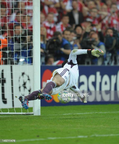 Chelsea goalkeeper Petr Cech saves the penalty kick from Bastian Schweinsteiger of Bayern Munich during the UEFA Champions League Final between FC...