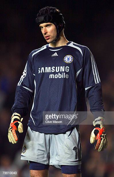 Chelsea goalkeeper Petr Cech walks on the pitch during the UEFA Champions League round of sixteen second leg match between Chelsea and FC Porto at...