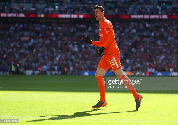 Chelsea goalkeeper Thibaut Courtois celebrates during The Emirates FA Cup Final between Chelsea and Manchester United at Wembley Stadium on May 19...