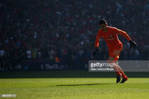 Chelsea goalkeeper Thibaut Courtois during The Emirates FA Cup Final between Chelsea and Manchester United at Wembley Stadium on May 19 2018 in...