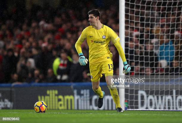 Chelsea goalkeeper Thibaut Courtois during the Premier League match between Chelsea and Southampton at Stamford Bridge on December 16 2017 in London...