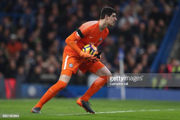 Chelsea goalkeeper Thibaut Courtois during the Premier League match between Chelsea and Crystal Palace at Stamford Bridge on March 10 2018 in London...