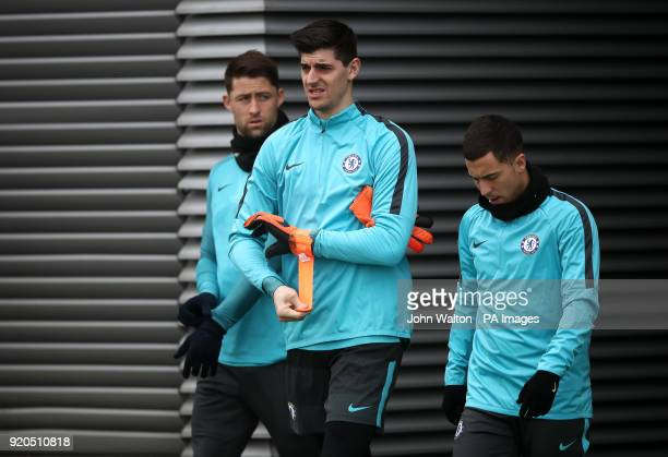 Chelsea goalkeeper Thibaut Courtois during the training session at Cobham Training Centre Stoke d'Abernon