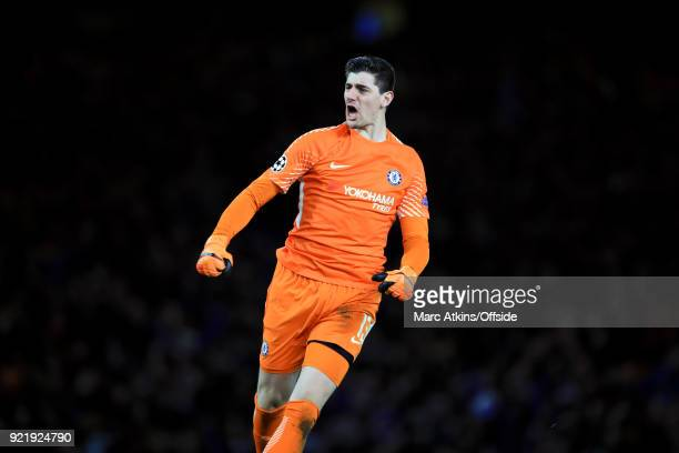 Chelsea goalkeeper Thibaut Courtois during the UEFA Champions League Round of 16 First Leg match between Chelsea FC and FC Barcelona at Stamford...