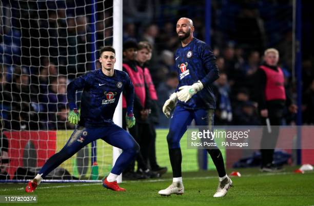 Chelsea goalkeeper Willy Caballero and goalkeeper Kepa Arrizabalaga warm up before the Premier League match at Stamford Bridge London