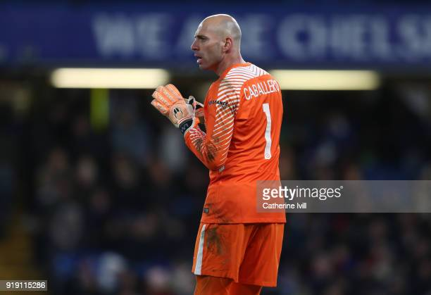 Chelsea goalkeeper Willy Caballero during The Emirates FA Cup Fifth Round match between Chelsea and Hull City at Stamford Bridge on February 16 2018...