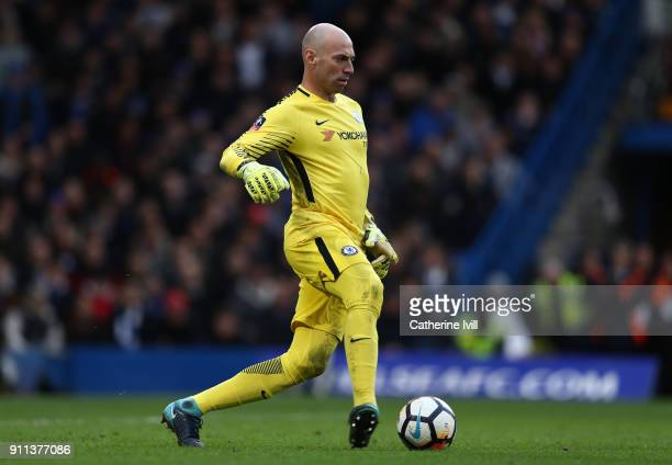 Chelsea goalkeeper Willy Caballero during the Emirates FA Cup Fourth Round match between Chelsea and Newcastle United on January 28 2018 in London...