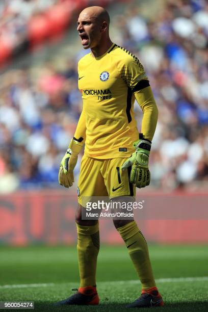 Chelsea goalkeeper Willy Caballero during the Emirates FA Cup Semi Final between Chelsea and Southampton at Wembley Stadium on April 22 2018 in...