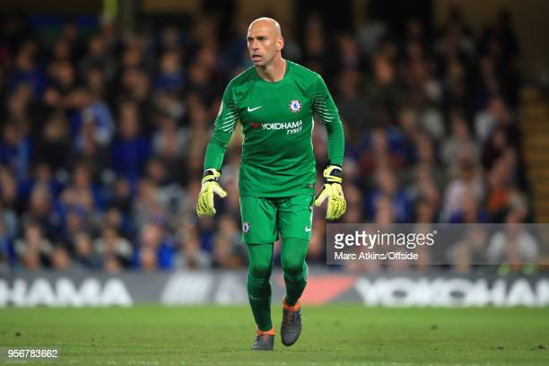 Chelsea goalkeeper Willy Caballero during the Premier League match between Chelsea and Huddersfield Town at Stamford Bridge on May 9 2018 in London...