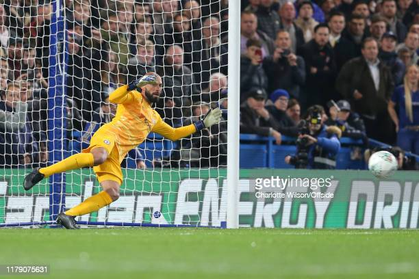 Chelsea goalkeeper Willy Caballero fails to save a penalty from Marcus Rashford of Man Utd during the Carabao Cup Round of 16 match between Chelsea...
