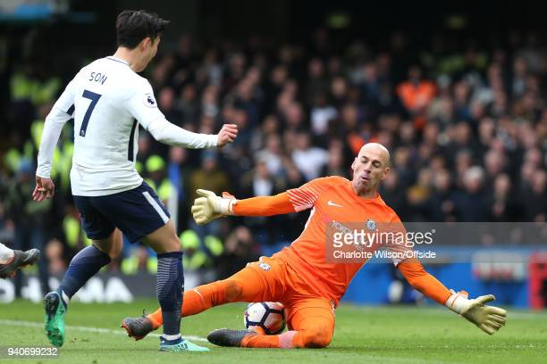 Chelsea goalkeeper Willy Caballero saves the shot of Heung-Min Son of Tottenham during the Premier League match between Chelsea and Tottenham Hotspur...