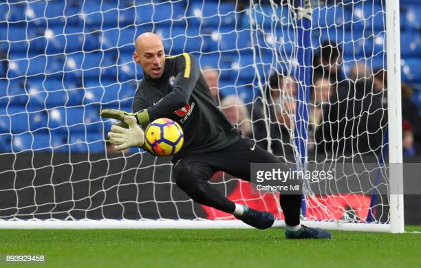 Chelsea goalkeeper Willy Caballero warms up before the Premier League match between Chelsea and Southampton at Stamford Bridge on December 16 2017 in...