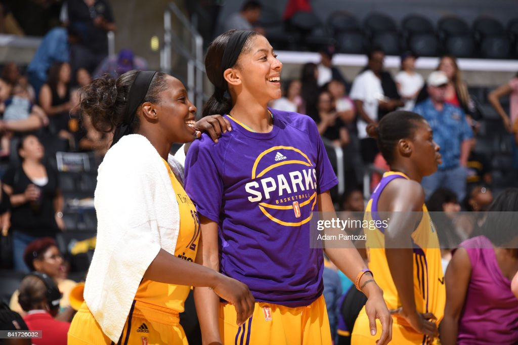 Chelsea Gray #12 and Candace Parker #3 of the Los Angeles Sparks react to a play against the Atlanta Dream on September 1, 2017 at the STAPLES Center in Los Angeles, California.