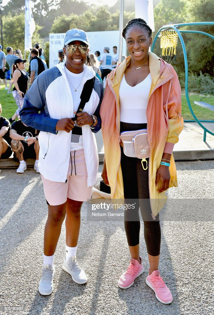 Chelsea Gray (L) and Nneka Ogwumike attend adidas x Parley 'Run For The Oceans' event, harnessing the power of sport and continued fight against the threat of marine plastic pollution, at Temescal Park in Los Angeles, CA at Temescal Gateway Park on June 8, 2018 in Pacific Palisades, California.