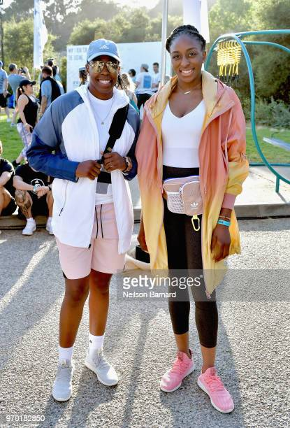 Chelsea Gray and Nneka Ogwumike attend adidas x Parley 'Run For The Oceans' event harnessing the power of sport and continued fight against the...