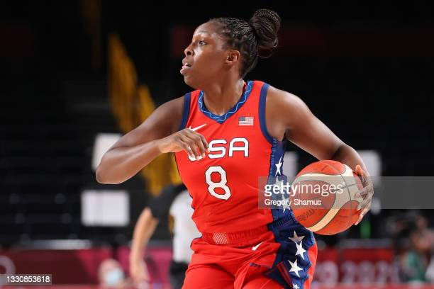 Chelsea Gray of Team United States brings the ball up court against Nigeria during the second half of a Women's Preliminary Round Group B game on day...