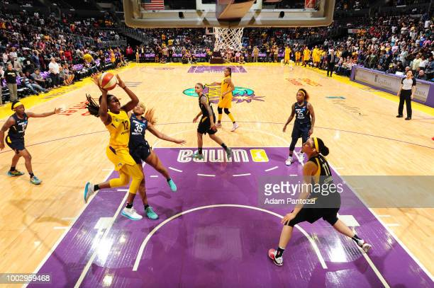 Chelsea Gray of the Los Angeles Sparks goes to the basket against the Indiana Fever on July 20 2018 at STAPLES Center in Los Angeles California NOTE...