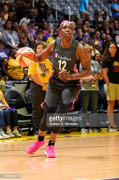 Chelsea Gray of the Los Angeles Sparks handles the ball against the Minnesota Lynx on August 2 2018 at STAPLES Center in Los Angeles California NOTE...
