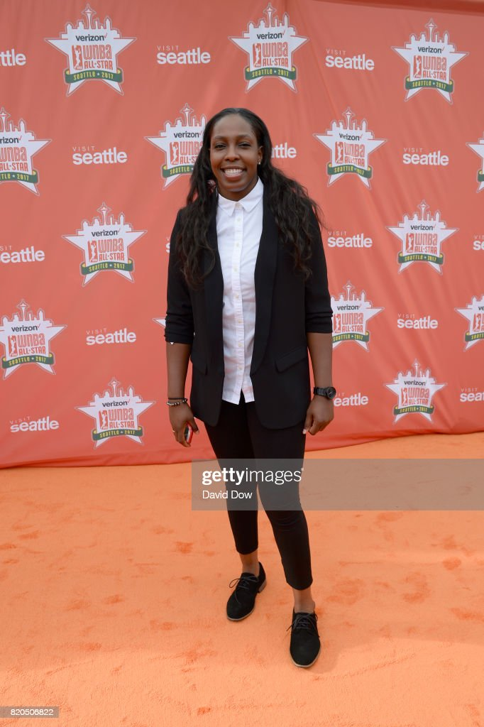 Chelsea Gray #12 of the Los Angeles Sparks poses for a photo during the WNBA All-Star Welcome Reception Presented by Visit Seattle as part of the 2017 WNBA All-Star Weekend at Chihuly Gardens and Glass on July 21, 2017 in Seattle, Washington.  NOTE