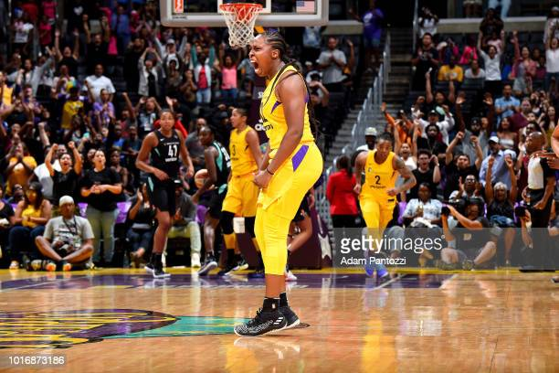 Chelsea Gray of the Los Angeles Sparks reacts during the game against the New York Liberty on August 14 2018 at Staples Center in Los Angeles...