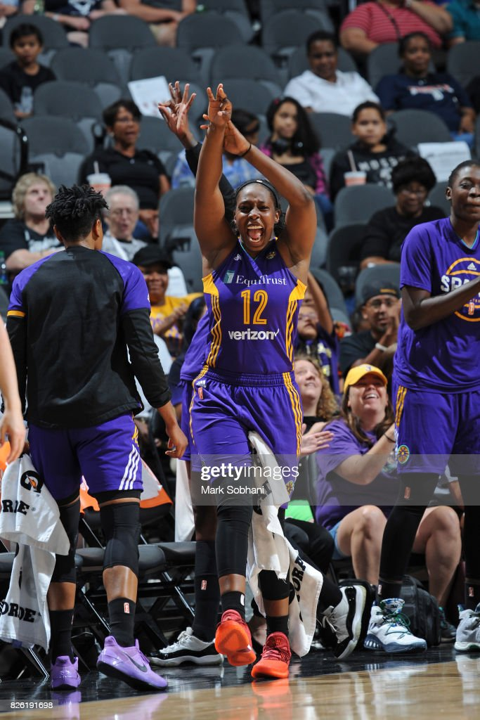 Chelsea Gray #12 of the Los Angeles Sparks reacts during the game against the San Antonio Stars on July 28, 2017 at the AT&T Center in San Antonio, Texas.