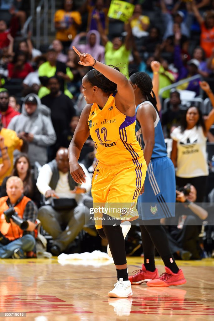 Chelsea Gray #12 of the Los Angeles Sparks reacts during the game against the Minnesota Lynx in Game Three of the 2017 WNBA Finals on September 29, 2017 in Los Angeles, California  NOTE