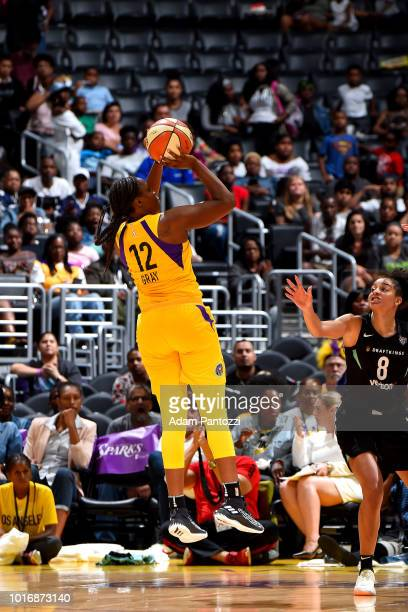 Chelsea Gray of the Los Angeles Sparks shoots the ball during the game against the New York Liberty on August 14 2018 at Staples Center in Los...