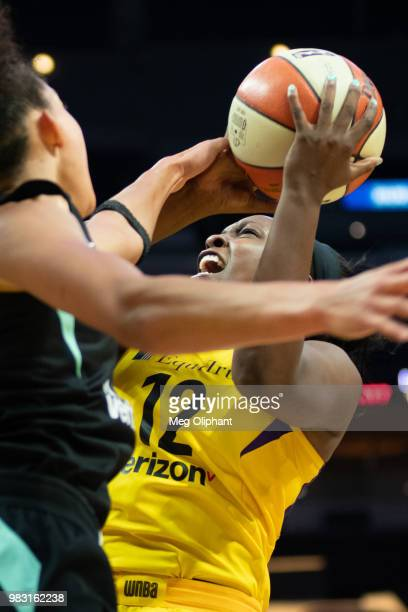 Chelsea Gray of the LA Sparks shoots the ball against New York Liberty at Staples Center on June 24 2018 in Los Angeles California NOTE TO USER User...