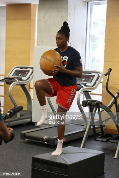 Chelsea Gray of the USA Women's National Team lifts weights during the USA Basketball Womens National Team practice on July 29, 2021 in Tokyo, Japan....