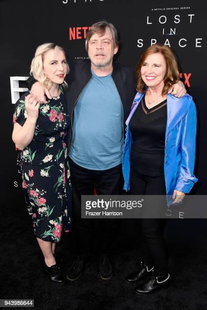 Chelsea Hamill Mark Hamill and Marilou York attend the premiere of Netflix's 'Lost In Space' Season 1 at The Cinerama Dome on April 9 2018 in Los...