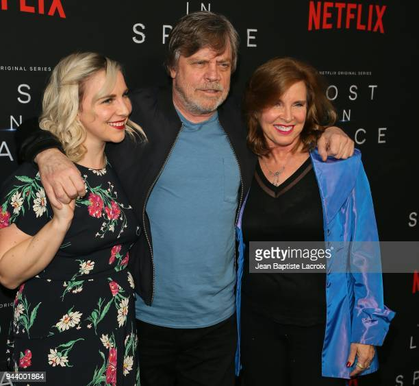 Chelsea Hamill Mark Hamill and Marilou York attend the premiere of Netflix's 'Lost In Space' Season 1 on April 9 2018 in Los Angeles California