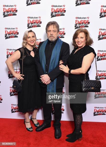 Chelsea Hamill, Mark Hamill and Marilou York attend the Rakuten TV EMPIRE Awards 2018 at The Roundhouse on March 18, 2018 in London, England.