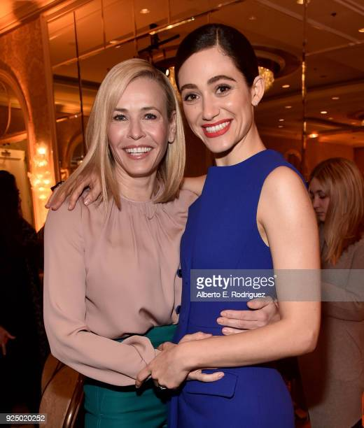 Chelsea Handler and Emmy Rossum attend EMILY's List PreOscars Brunch and Panel on February 27 2018 in Los Angeles California