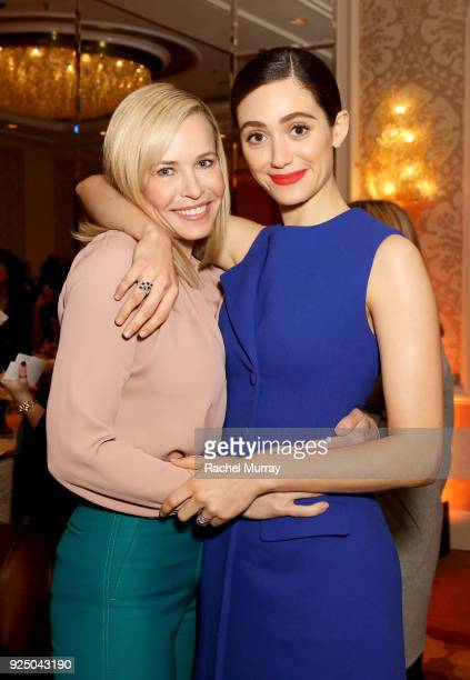 Chelsea Handler and Emmy Rossum attend EMILY's List's Resist Run Win PreOscars Brunch on February 27 2018 in Los Angeles California