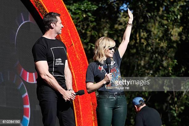 Chelsea Handler and Hugh Jackman speak during the 2016 Global Citizen Festival at Central Park on September 24 2016 in New York City