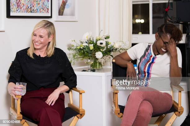 Chelsea Handler and Issa Rae attend 'LinkedIn Hosts a panel discussion with Issa Rae and Chelsea Handler' at The Art of Elysium Center on March 7...