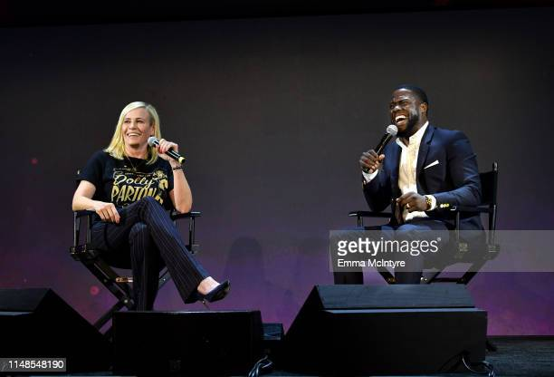 Chelsea Handler and Kevin Hart speak onstage at the 'Netflix Is A Joke' screening at Raleigh Studios on May 11, 2019 in Los Angeles, California.