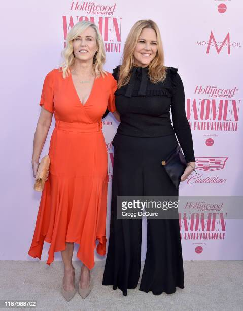 Chelsea Handler and Mary McCormack arrive at The Hollywood Reporter's Annual Women in Entertainment Breakfast Gala at Milk Studios on December 11,...