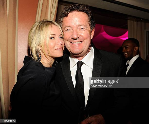 Chelsea Handler and Piers Morgan attend the 2012 Vanity Fair Oscar Party Hosted By Graydon Carter at Sunset Tower on February 26 2012 in West...