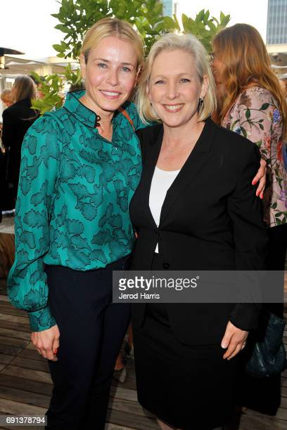 Chelsea Handler and Senator Kirsten Gillibrand attend an evening with Senator Gillibrand at NeueHouse Hollywood on June 1 2017 in Los Angeles...