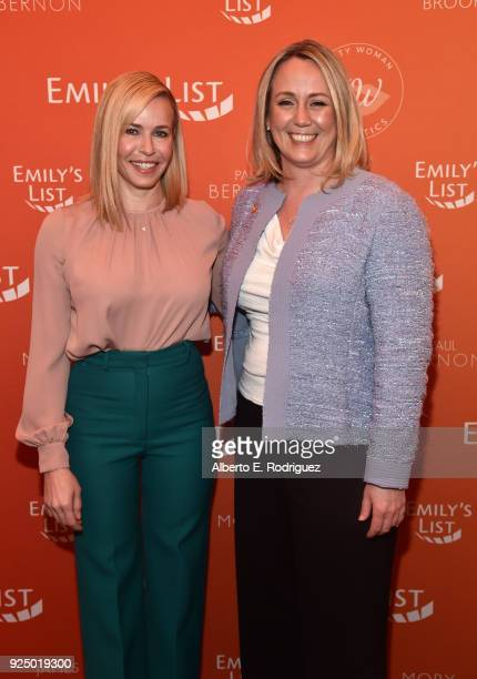 Chelsea Handler and Stephanie Schriock President of EMILY's List attend EMILY's List PreOscars Brunch and Panel on February 27 2018 in Los Angeles...