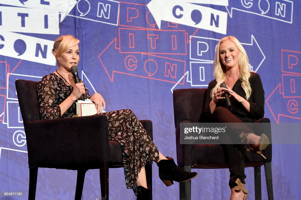 Chelsea Handler (L) and Tomi Lahren at 'Chelsea Handler in Conversation with Tomi Lahren' panel during Politicon at Pasadena Convention Center on July 29, 2017 in Pasadena, California.