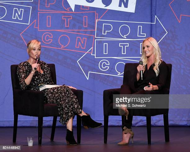 Chelsea Handler and Tomi Lahren speak during there appearance at Politicon 2017 at Pasadena Convention Center on July 29 2017 in Pasadena California